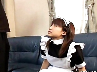 Japanese teen giving a hot blowjob Maid..