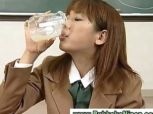 Real amateur japanese babe drinks cum in reality..
