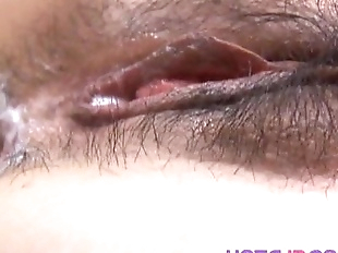 Ran Monbu sucks dick and is nailed in hairy cunt..