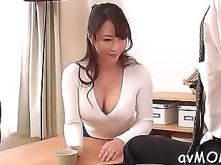 Slim mom positions her tight cunt on hard cock..