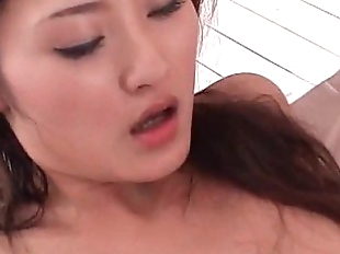 Amazing jap girl sucks and fucks two horny dicks..