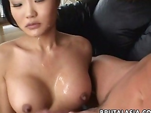 Asian brunette whore sucks and gets ass fucked..