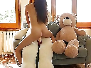 Asian japanese girl Miyuki first sex with plush..