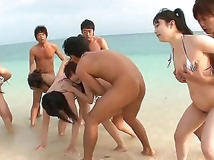 Japanese Group Beach Sex!! - 8 min
