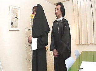 Naughty Nun spreads wide and sucks dick Hitomi..