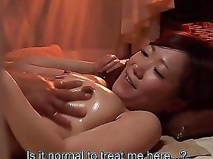 Subtitled Japanese massage clinic busty woman..