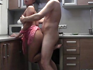 Wife getting fucked doggystyle in the kitchen so..